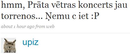 Kāds twitter.com lietotājs dara zināmu, par koncerta pieejamību torrent tīklā.